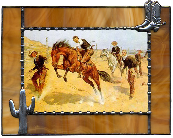 brown cowboy boots cactus western picture frame